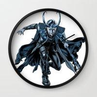 loki Wall Clocks featuring Loki by Alessia Pelonzi