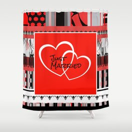 just Married Hearts red pattern II Shower Curtain