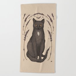 The Cat and Lavender Beach Towel