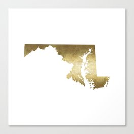 maryland gold foil state map Canvas Print