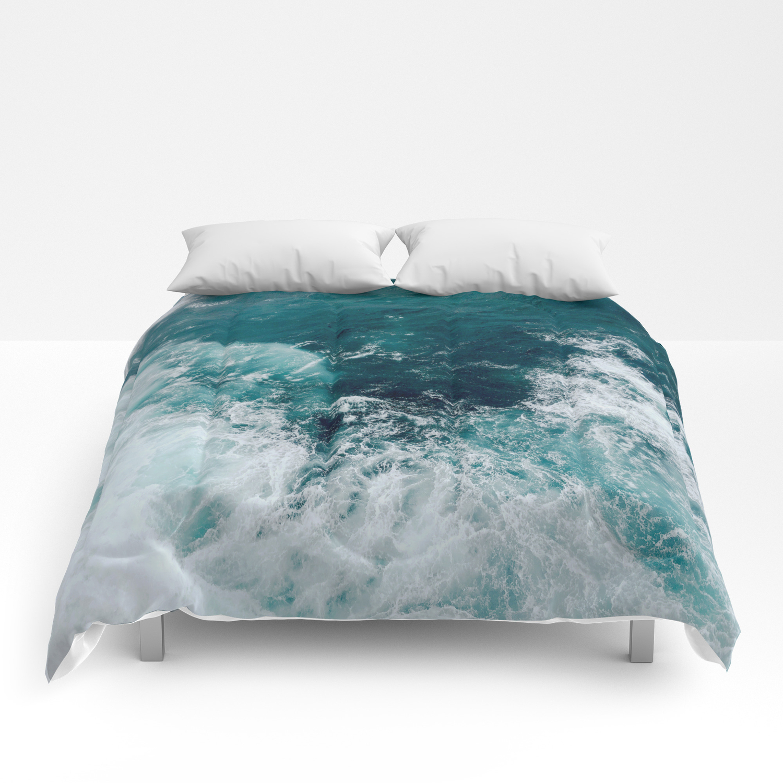 Ocean Waves Teal Comforters By Gameoftones Society6