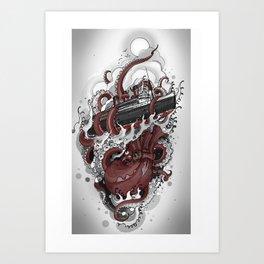 Octopus vs. Queen Mary Art Print