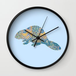 Beaver Vintage Floral Pattern Rustic Country Shabby Chic Blue Yellow Orange Grey Wall Clock