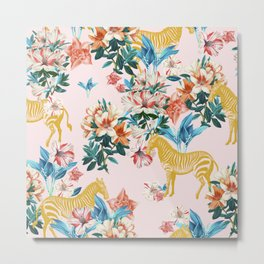 Floral & Zebras Metal Print