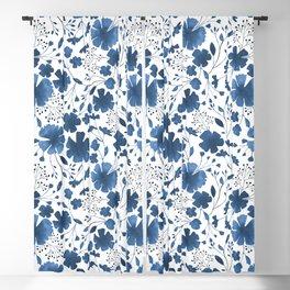 Blue Watercolour Floral Pattern Blackout Curtain