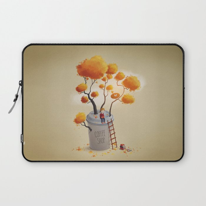 Coffee Shop Tree Laptop Sleeve