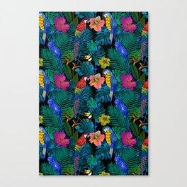Tropical Birds and Botanicals Canvas Print