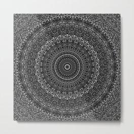 Monochrome Glass Mosaic Mandala Metal Print