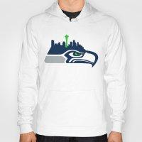 seahawks Hoodies featuring Seattle Seahawks Skyline by Ainslie Kellas