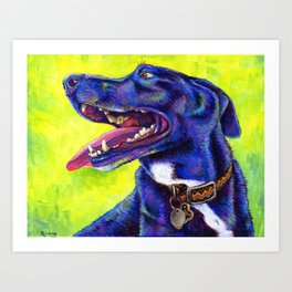 Jubilation - Colorful Black Labrador Art Print