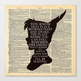 Peter Pan Over Vintage Dictionary Page - That Place Canvas Print