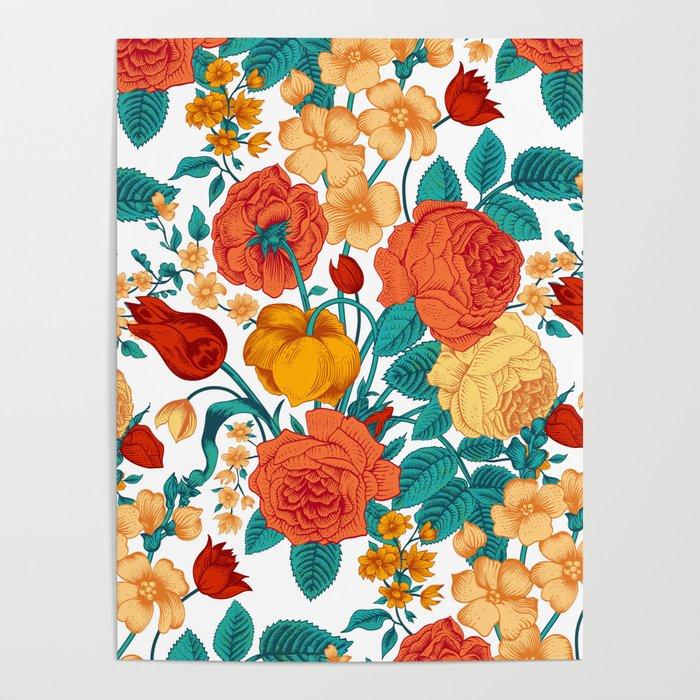 Vintage flower garden Poster