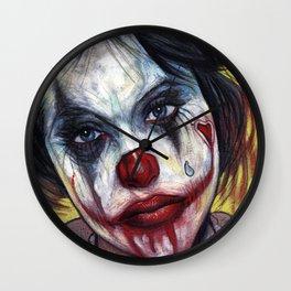 Portrait - Tattooed Valentine Clown Girl Wall Clock