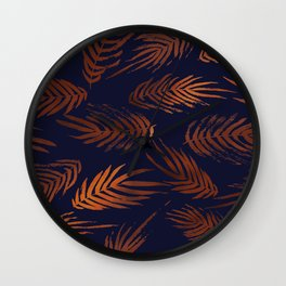 Navy and Copper Tropical Leaves Wall Clock