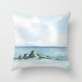 2019 Watercolor Sea Scape Series 003 Watercolor Painting Throw Pillow