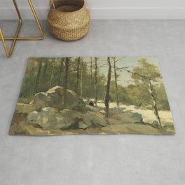 Forest View Near Barbizon 1900 By Johan Hendrik Weissenbruch | Reproduction Rug