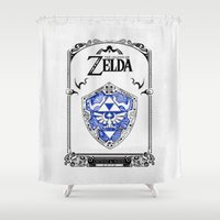 the legend of zelda Shower Curtains featuring Zelda legend - Hylian shield by Art & Be