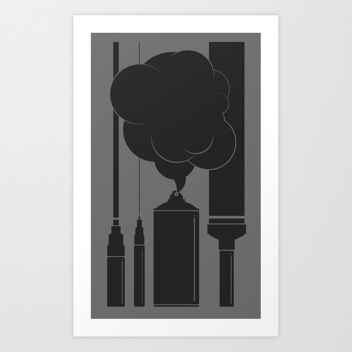 Art Supplies Grey Art Print