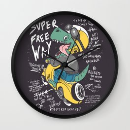 Funny dinosaur trip with quotes Wall Clock