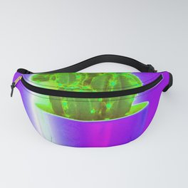 Green cactus on violet Fanny Pack