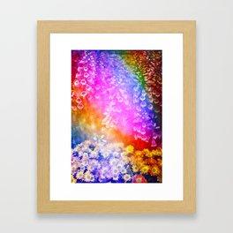 Flowers, Neon Lit Framed Art Print
