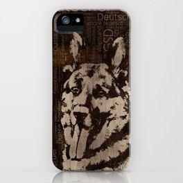 German Shepherd Dog - Wooden Texture iPhone Case