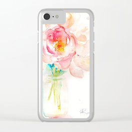 Blooming Peonies Clear iPhone Case