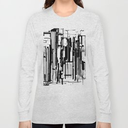 Black and White Cityscape 2 Long Sleeve T-shirt
