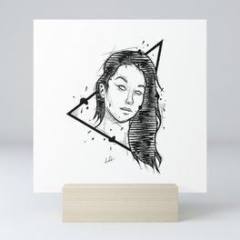 Girl Handmade Drawing, Made in pencil and ink, Tattoo Sketch, Tattoo Flash, Blackwork Mini Art Print