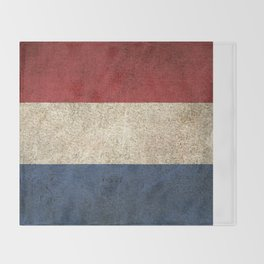 Old and Worn Distressed Vintage Flag of The Netherlands Throw Blanket