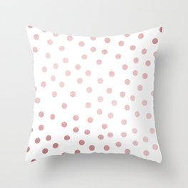 Simply Dots in Rose Gold Sunset Throw Pillow