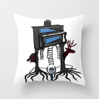 piano Throw Pillows featuring piano by JBLITTLEMONSTERS