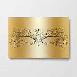 Golden Mask Metal Print