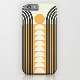 Geometric Lines in Gold and Black 6 (Rainbow and Sunrise Abstract) iPhone Case