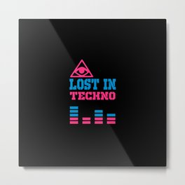 Lost in techno music design Metal Print