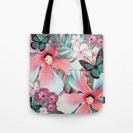 Peachy Mint Hibiscus Tropical Tote Bag
