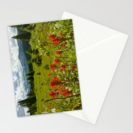 Red paintbrush with mountain view Stationery Cards