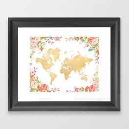 Bohemian world map with watercolor flowers Framed Art Print