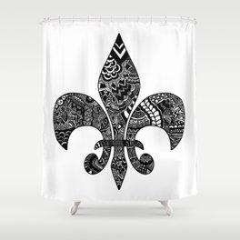 Fleur De Lis on White Shower Curtain