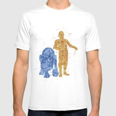 C3PO and R2D2 Star . Wars Mens Fitted Tee White X-LARGE
