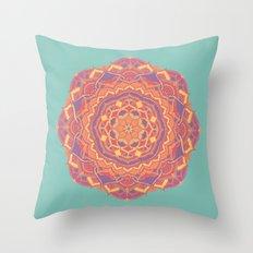Pink Mandala Flower Throw Pillow