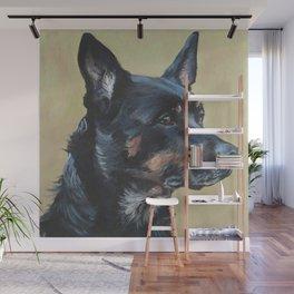 Australian Kelpie portrait dog art from an original painting by L.A.Shepard Wall Mural