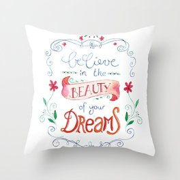 handlettering believe  Throw Pillow