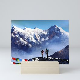 Panoramic View Of Ama Dablam Peak Everest Mountain Mini Art Print