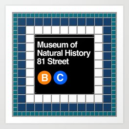 subway natural history sign Art Print