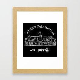 """Hofgut Falkenstein """"er Zappelt"""" White on Black Framed Art Print"""