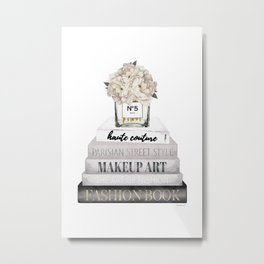 Fashion books, in Grey, with Hydrangeas, Cream, Make up, Watercolor, Fashion, Illustration Metal Print