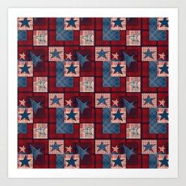 Creative patchwork. Star. The creative pattern. Art Print