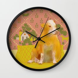 Farm Animals in Chairs #1 Cow Wall Clock