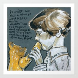 Christopher Robin and Winnie the Poo Art Print
